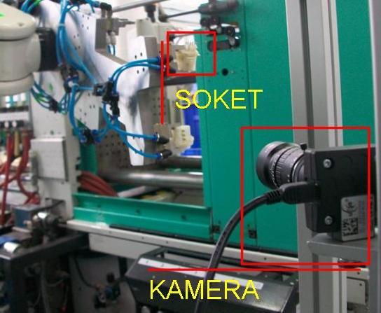 Telesentrik lens ve iDs uEye kamera ile robot kolunun getirdiği soket üzerinden ölçüm işlemlerinin yapılması