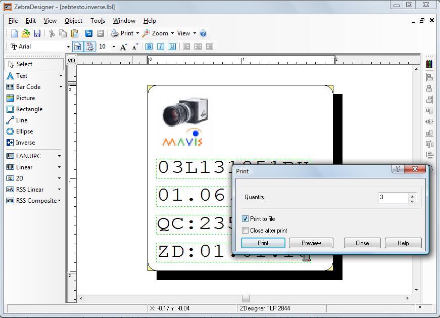 Zebra yazıcılar için etiket tasarlama programı olan ZebraDesigner ekran görüntüsü