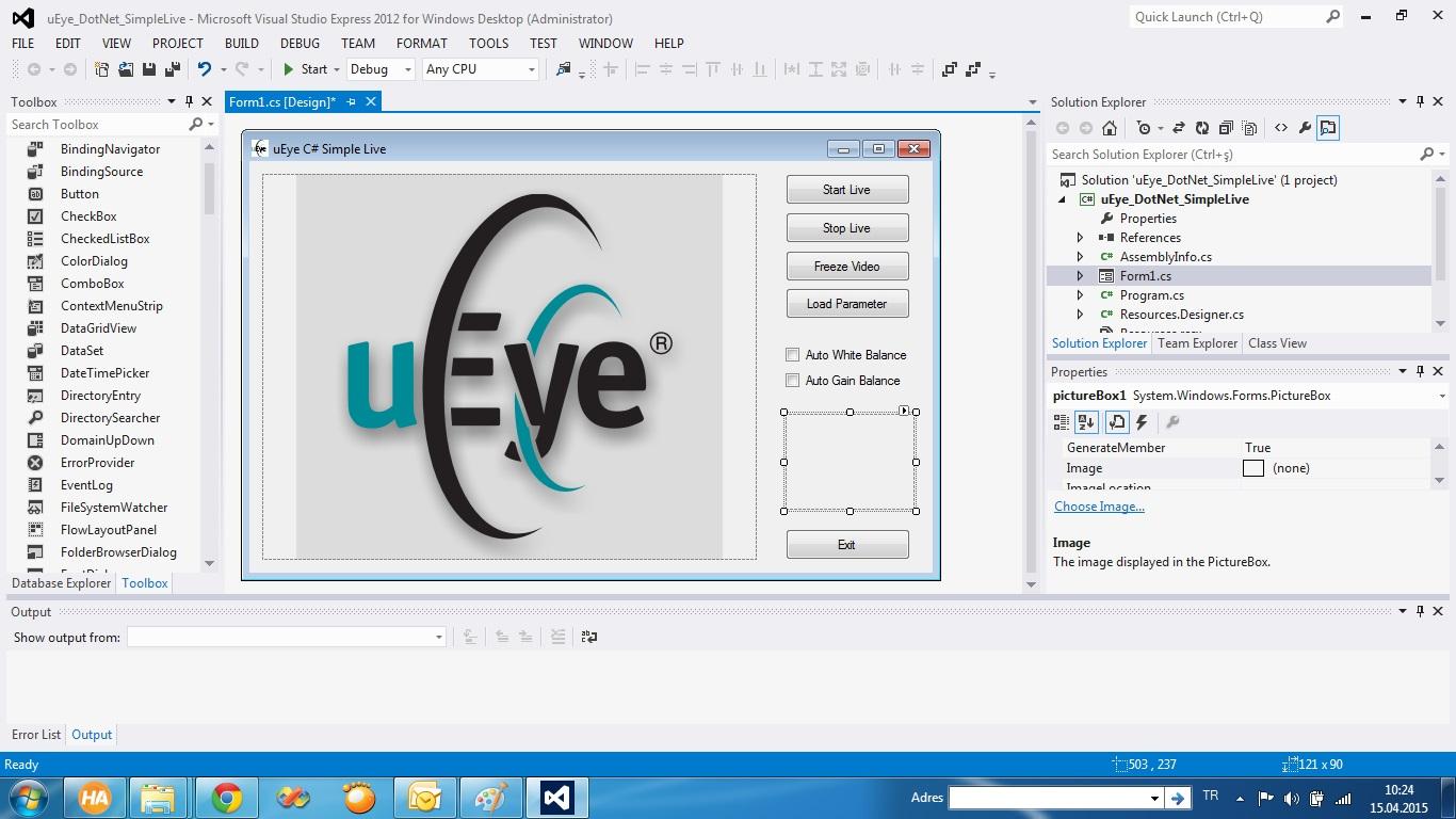 uEye DotNet Simple Live C# Uygulaması