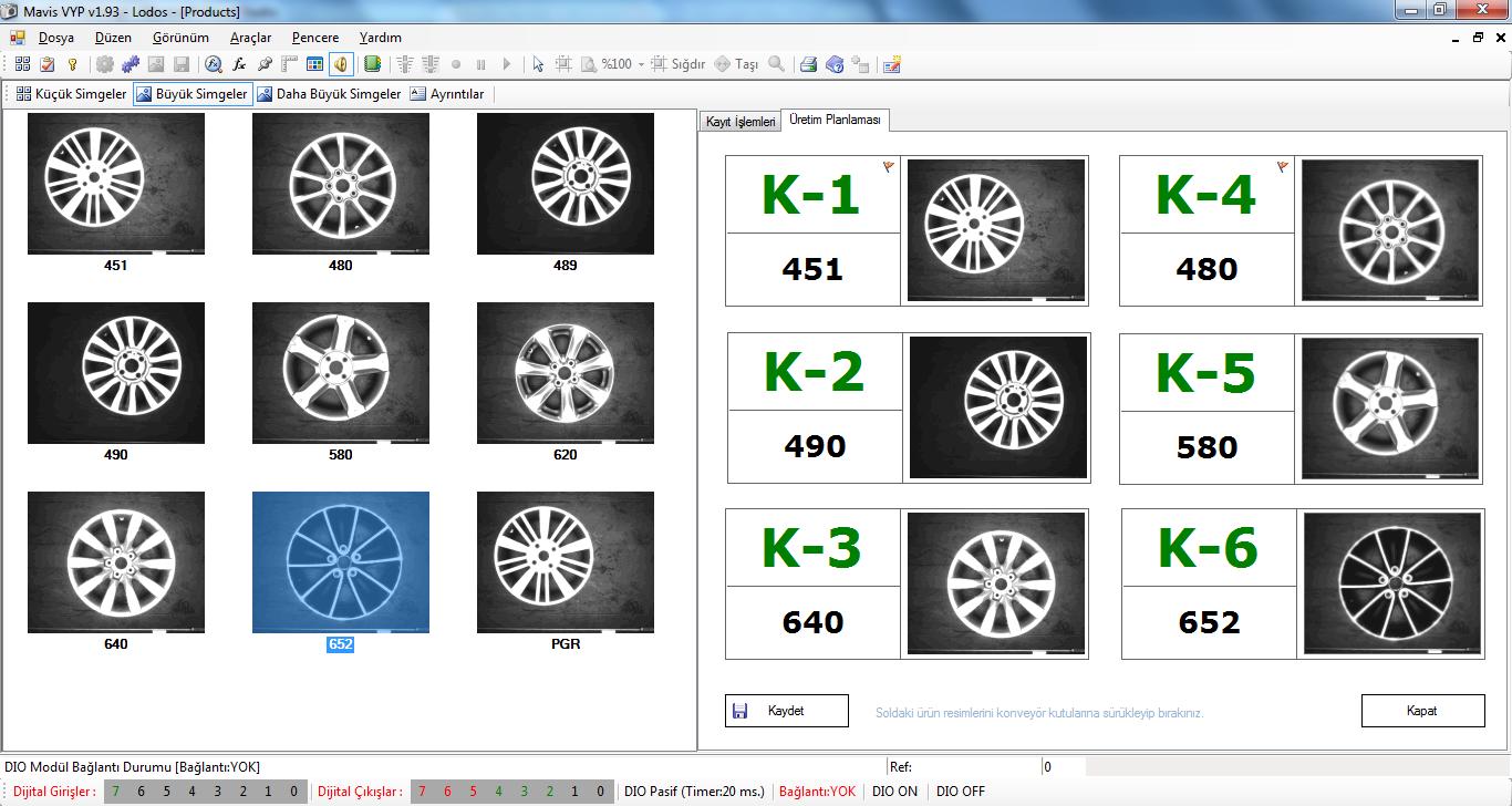 Jant Tanıma Programı Ana Program Ekran Görüntüsü